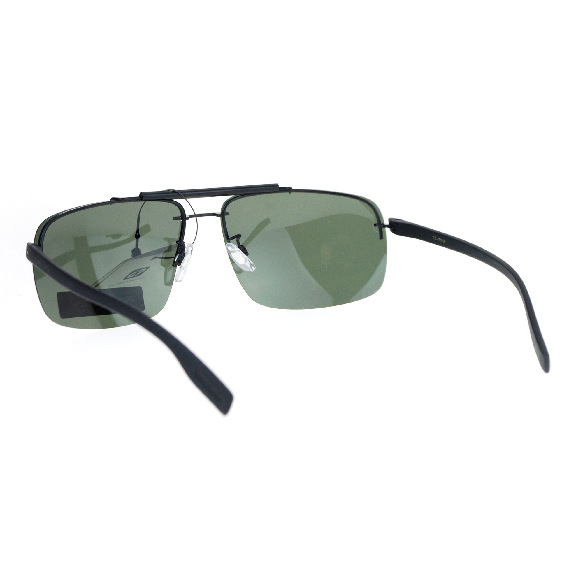 SA106 Polarized Mens Rimless Luxury Rectangular Aviator Sunglasses