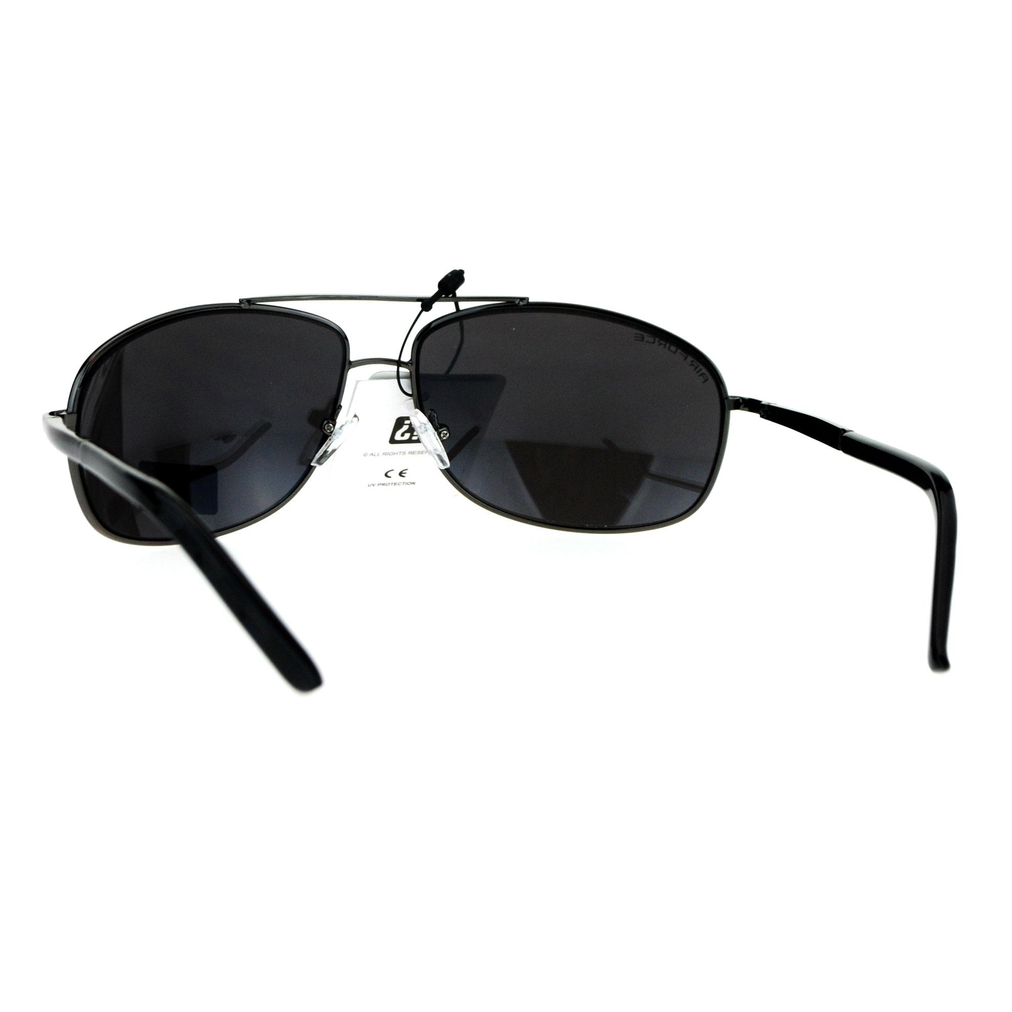 Mens Classic Mirror Lens Narrow Rectangular Metal Rim Sunglasses