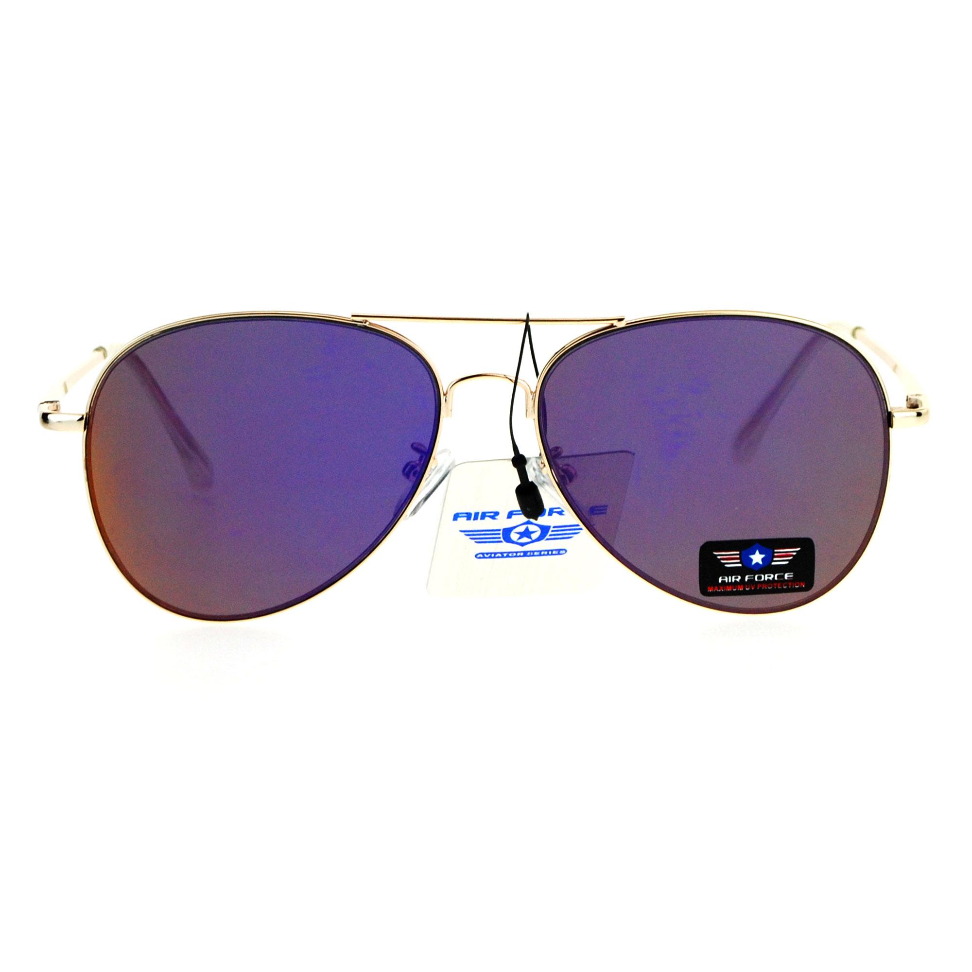purple aviator sunglasses  Flat Panel Lens Classic Metal Rim Police Style Aviator Sunglasses ...