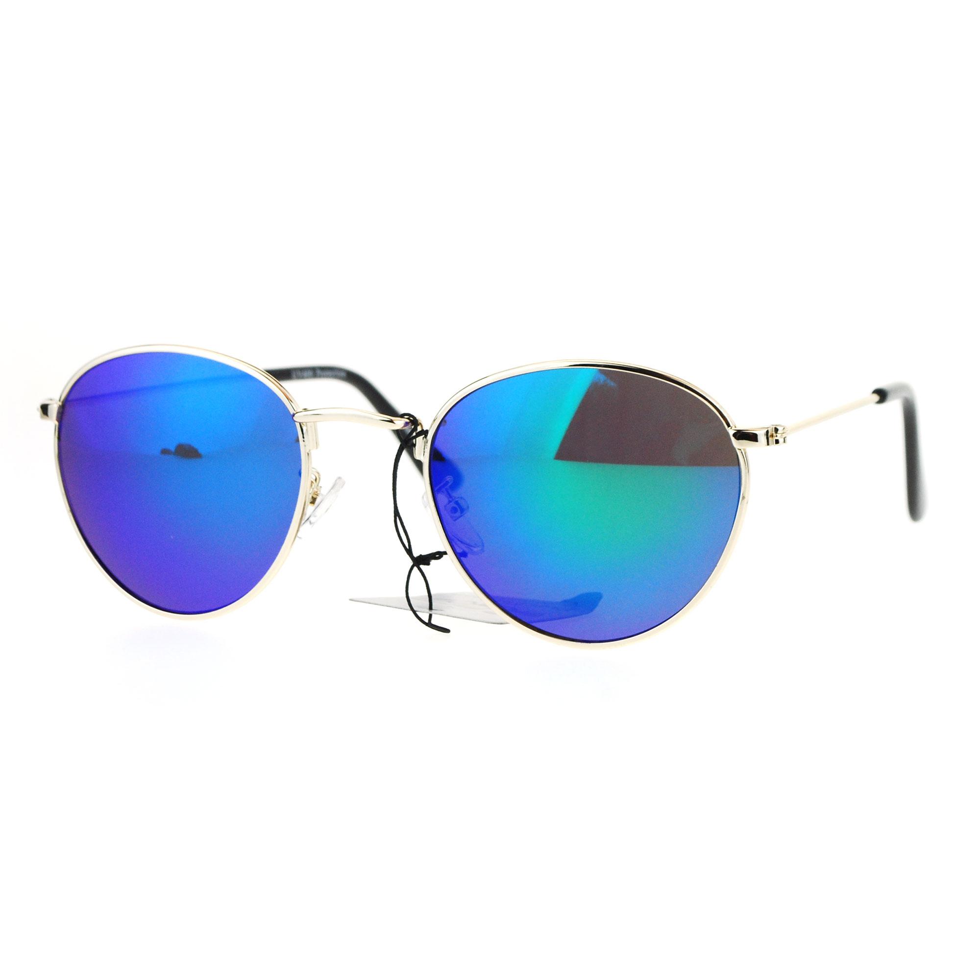 Womens 90s Color Mirror Boyfriend Style Sitcom Star Sunglasses