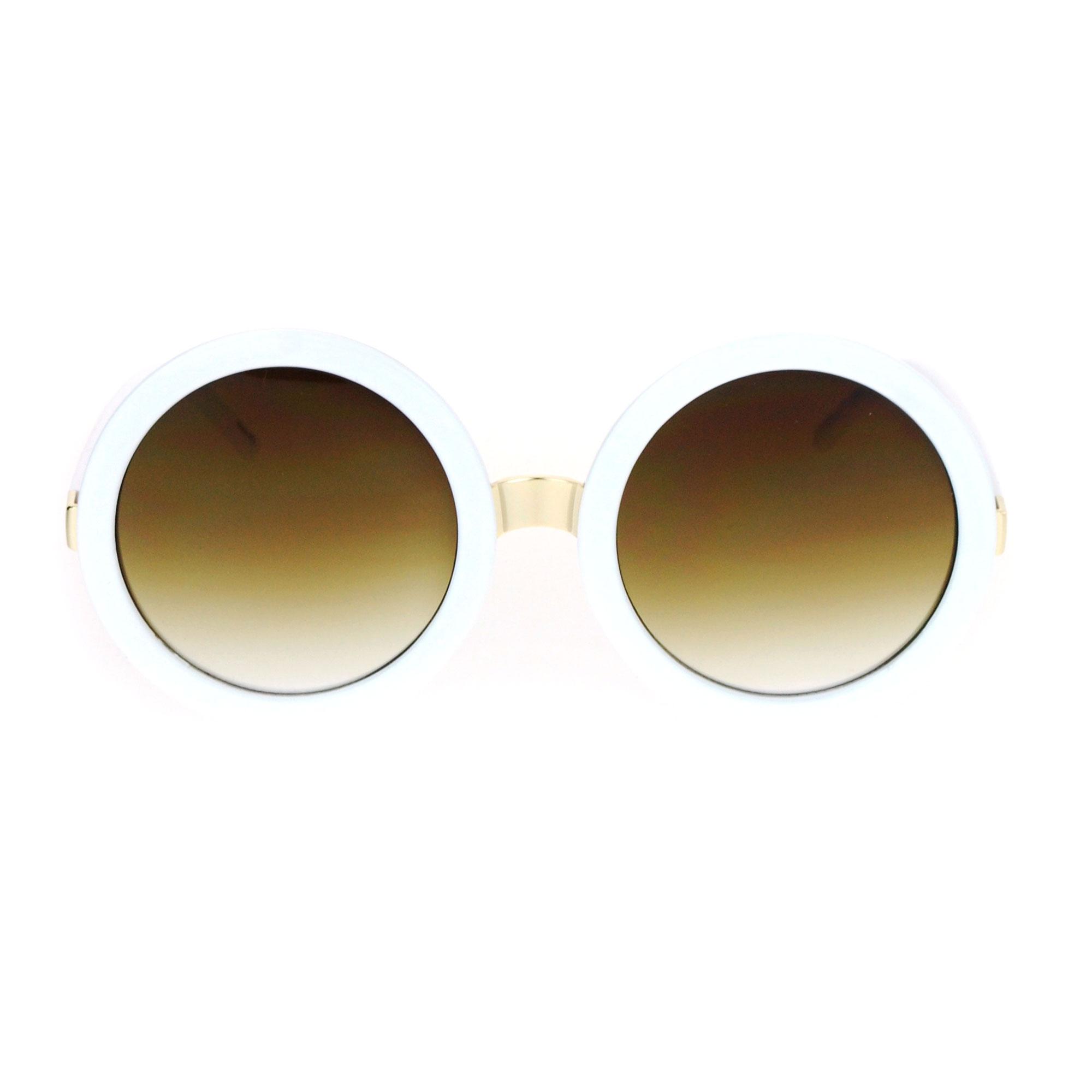 round designer sunglasses  Womens Thick Plastic Round Circle Lens Mod Designer Sunglasses