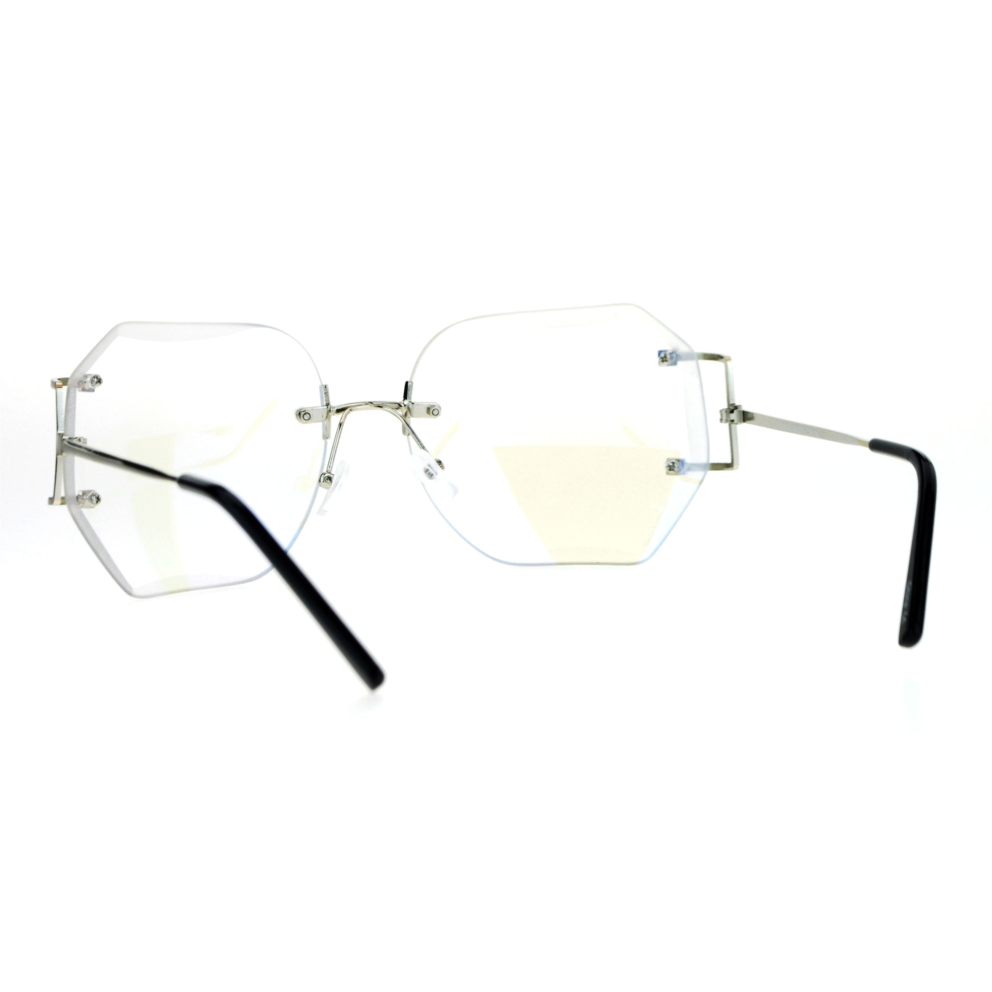 4a03f8b72e Womens Granny Style Diva Rimless Clear Lens Butterfly Eye Glasses