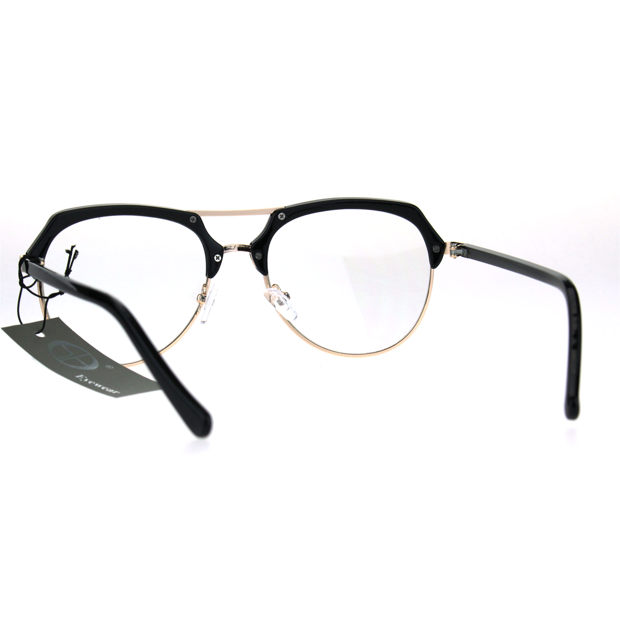 9203479e5c79b Retro Luxury Half Rim Aviator Designer Fashion Clear Lens Eye ...