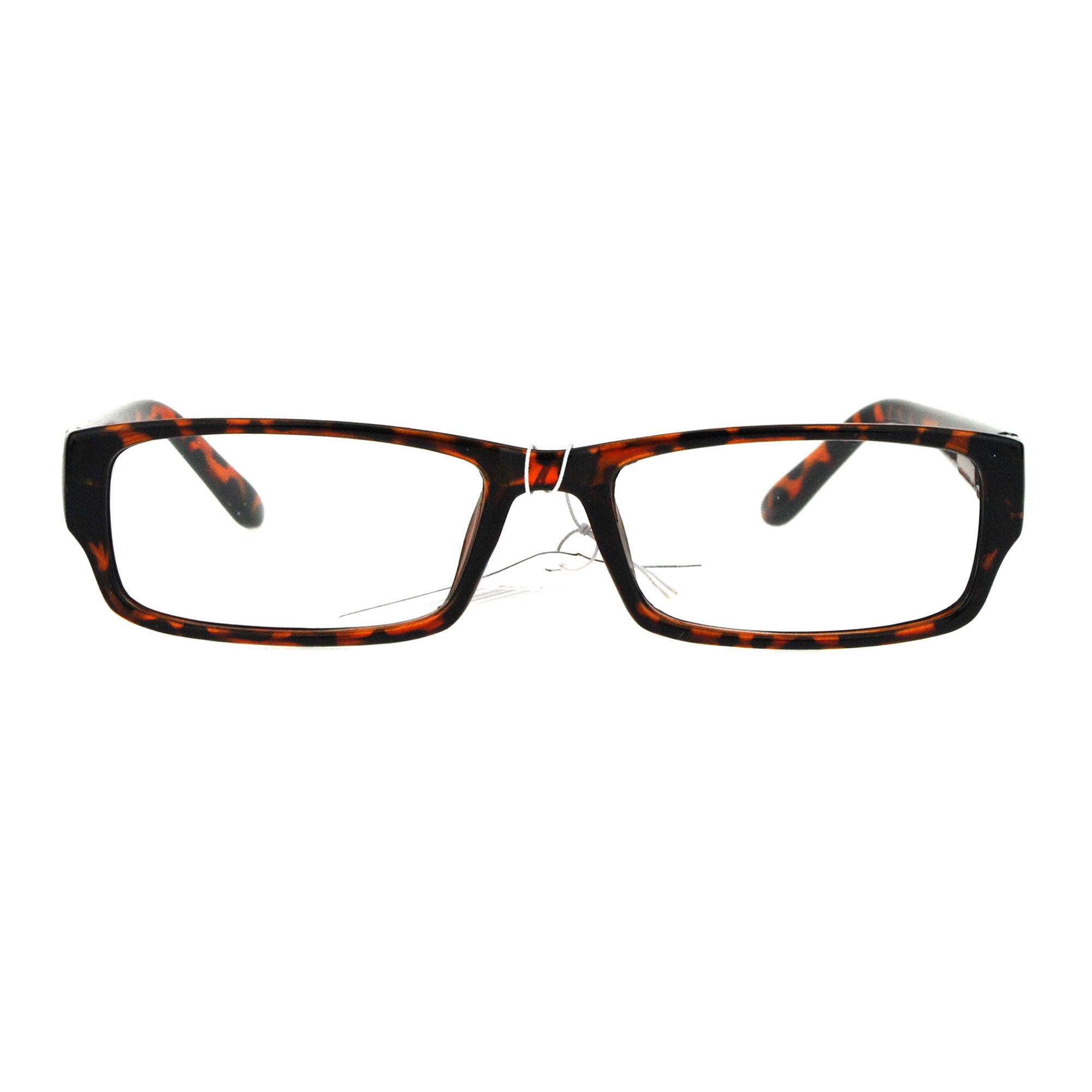 Mens Clear Plastic Eyeglass Frames : Mens Classic Narrow Rectangular Plastic Clear Lens Eye ...