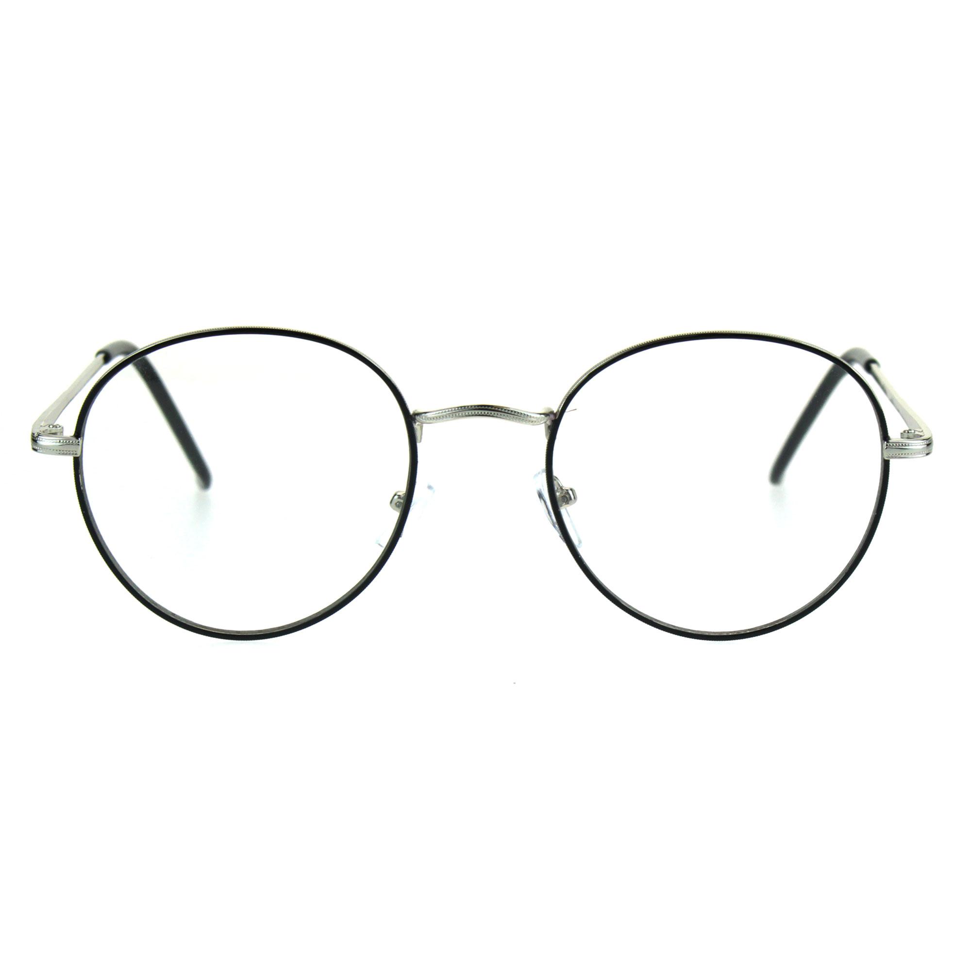 Classic 90s Metal Rim Round Oval Clear Lens Eye Glasses Frame | eBay