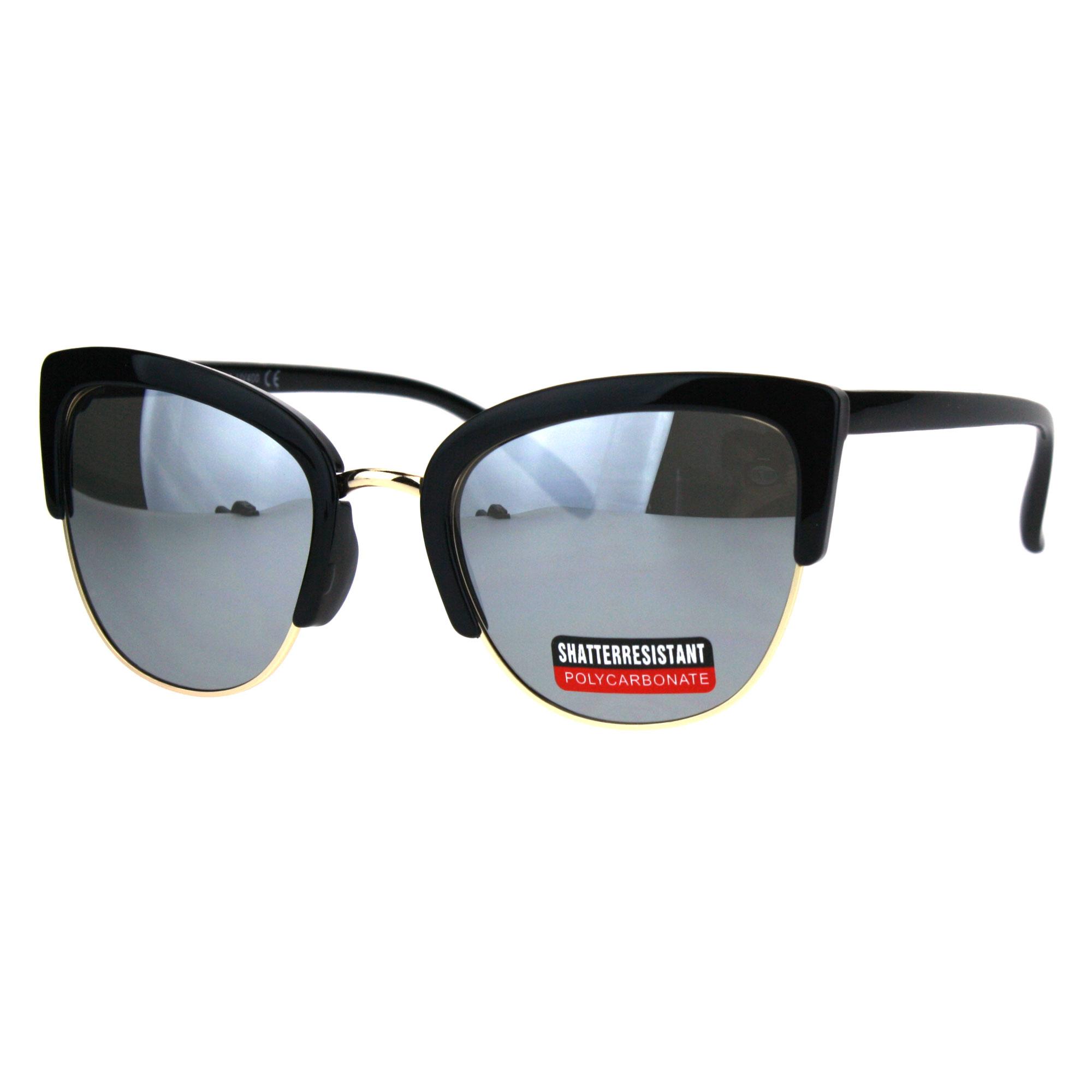d1f38a061c3e Womens Color Mirrored Lens Half Rim Cat Eye Designer Sunglasses