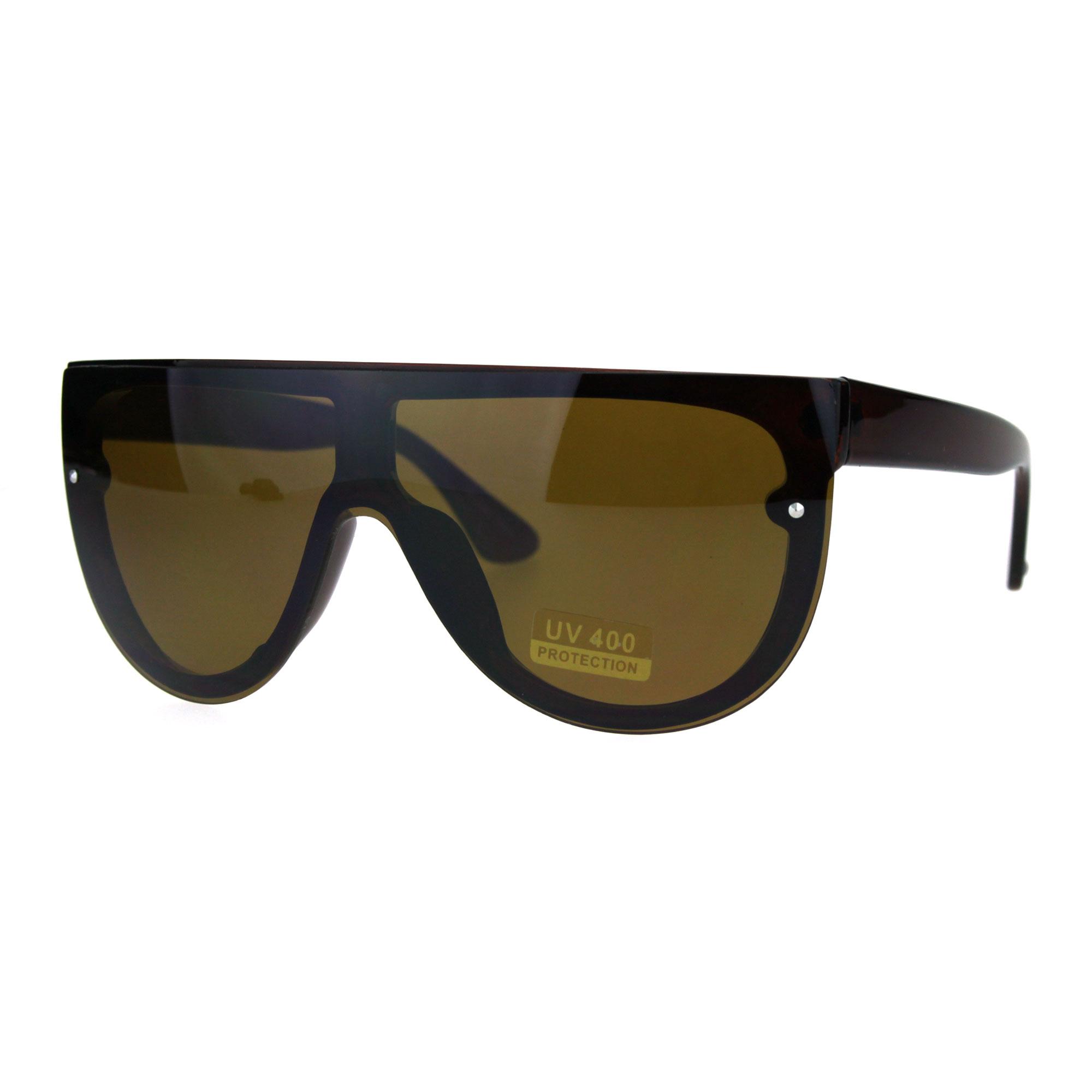 Futuristic Shield Color Mirrored Hip Hop Mob Rimless Sunglasses