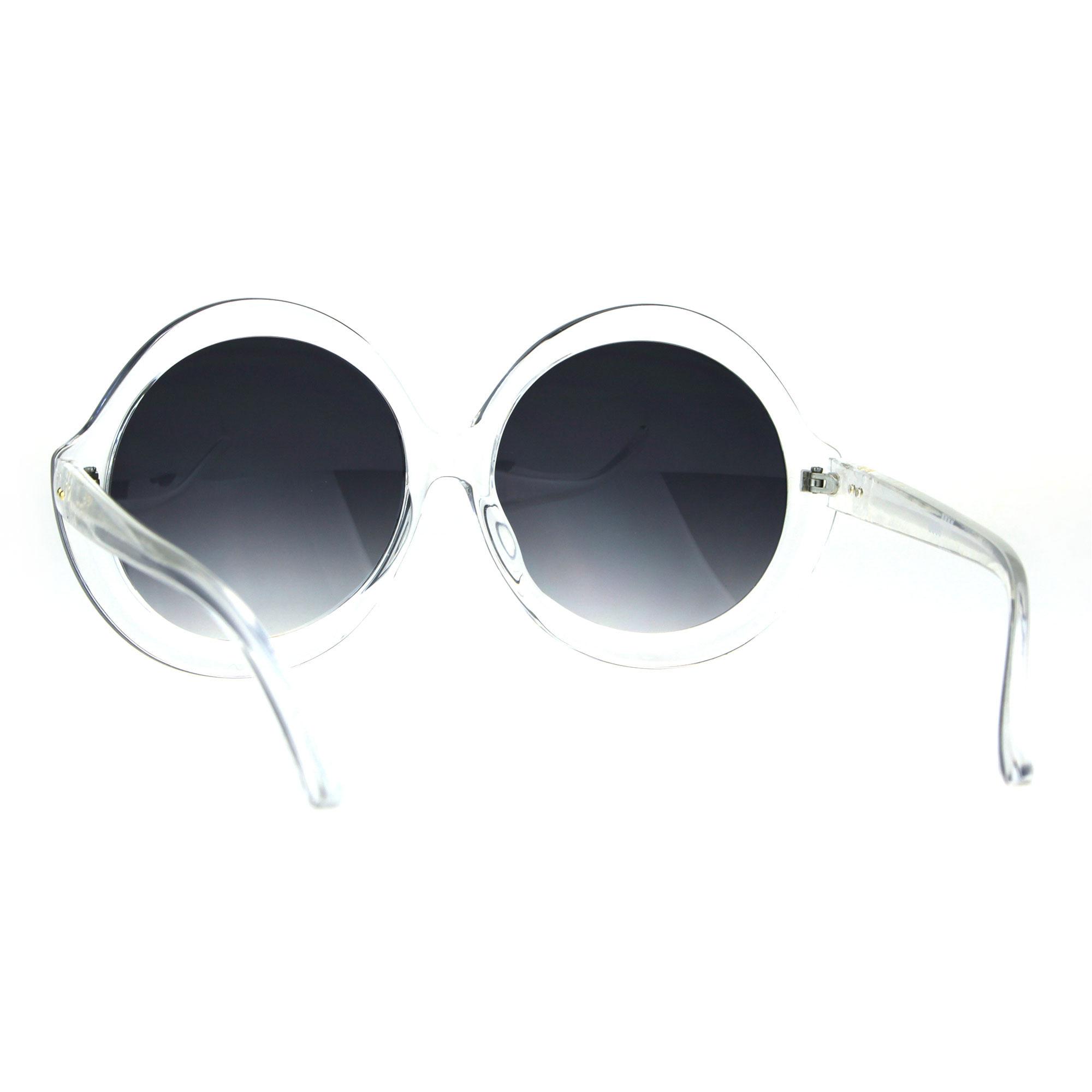 Womens Fem Mod Round Shaggy Groove Hippie Plastic Frame Sunglasses