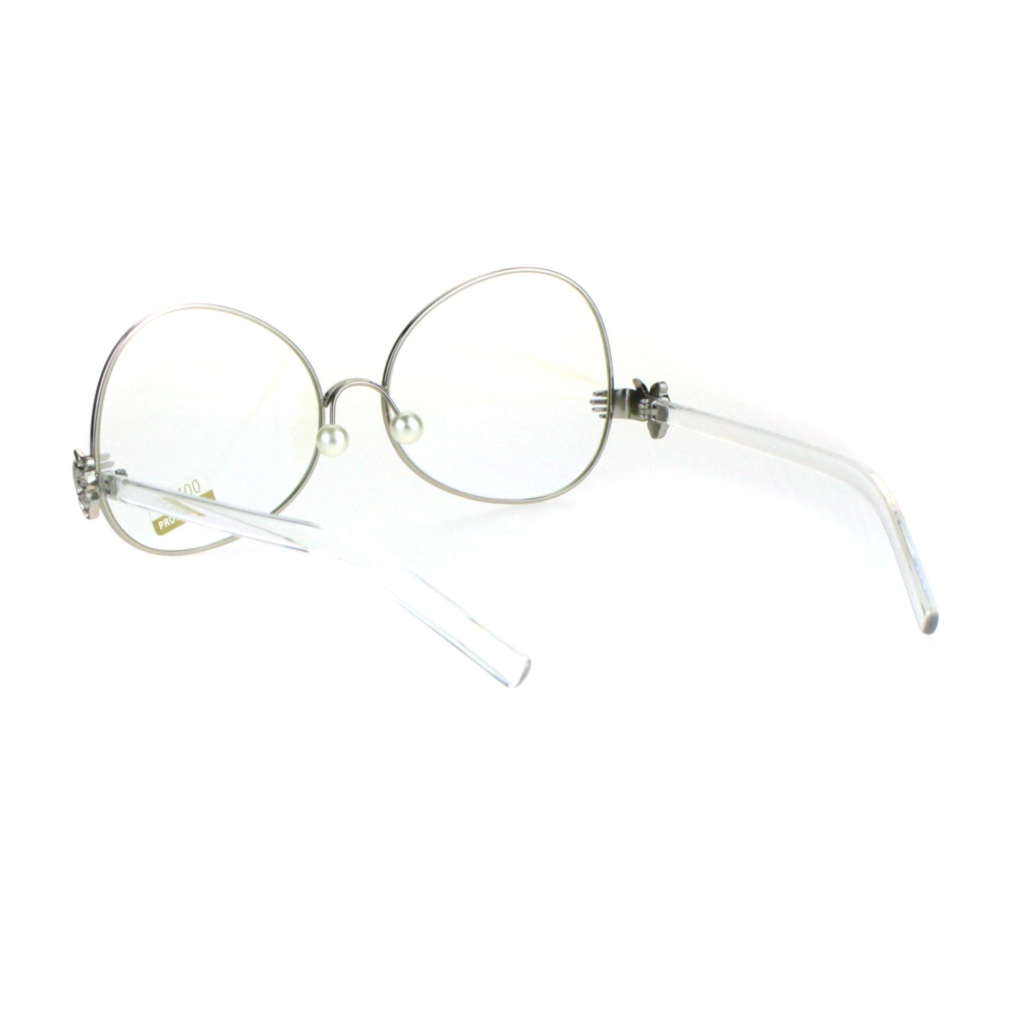 Pearl Nose Pad Clown Hand Hinge Drop Temple Swan Eye Glasses