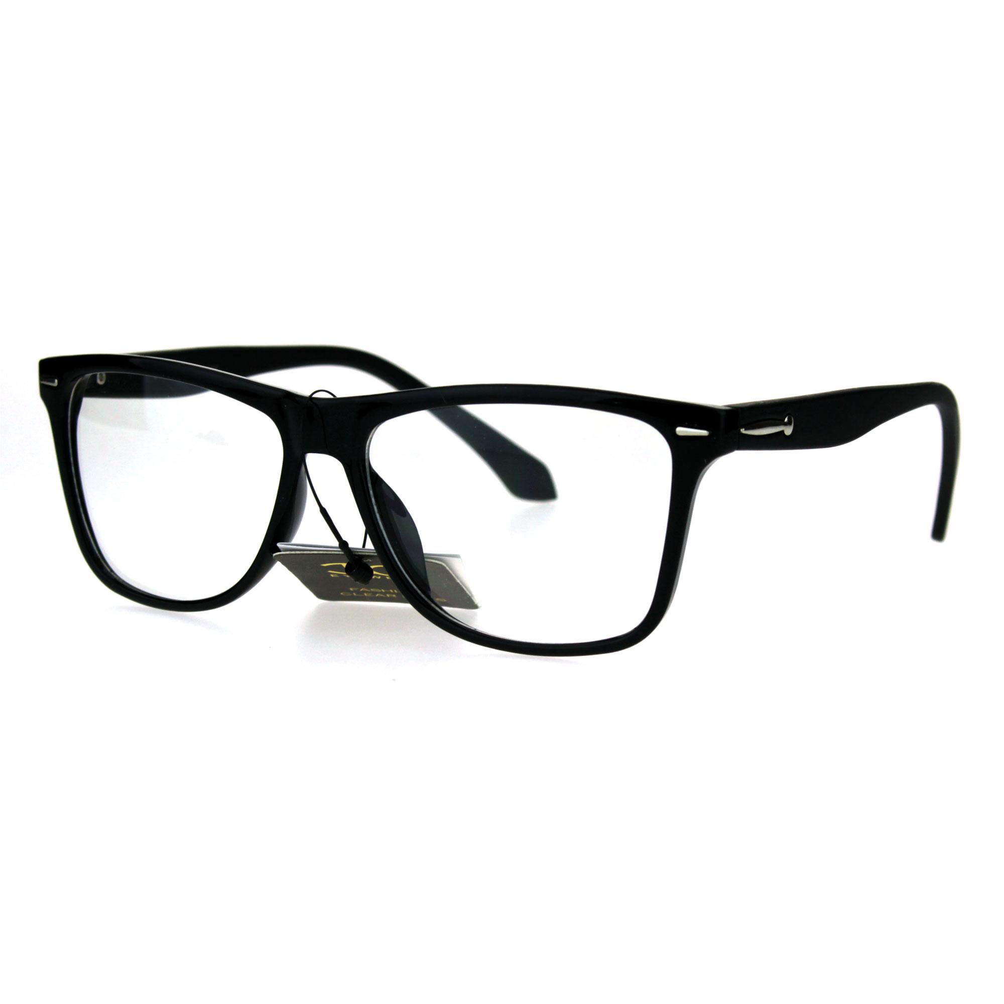 Men s Plastic Frame Glasses : Mens Rectangular Plastic Horn Rim Clear Lens Eye Glasses ...