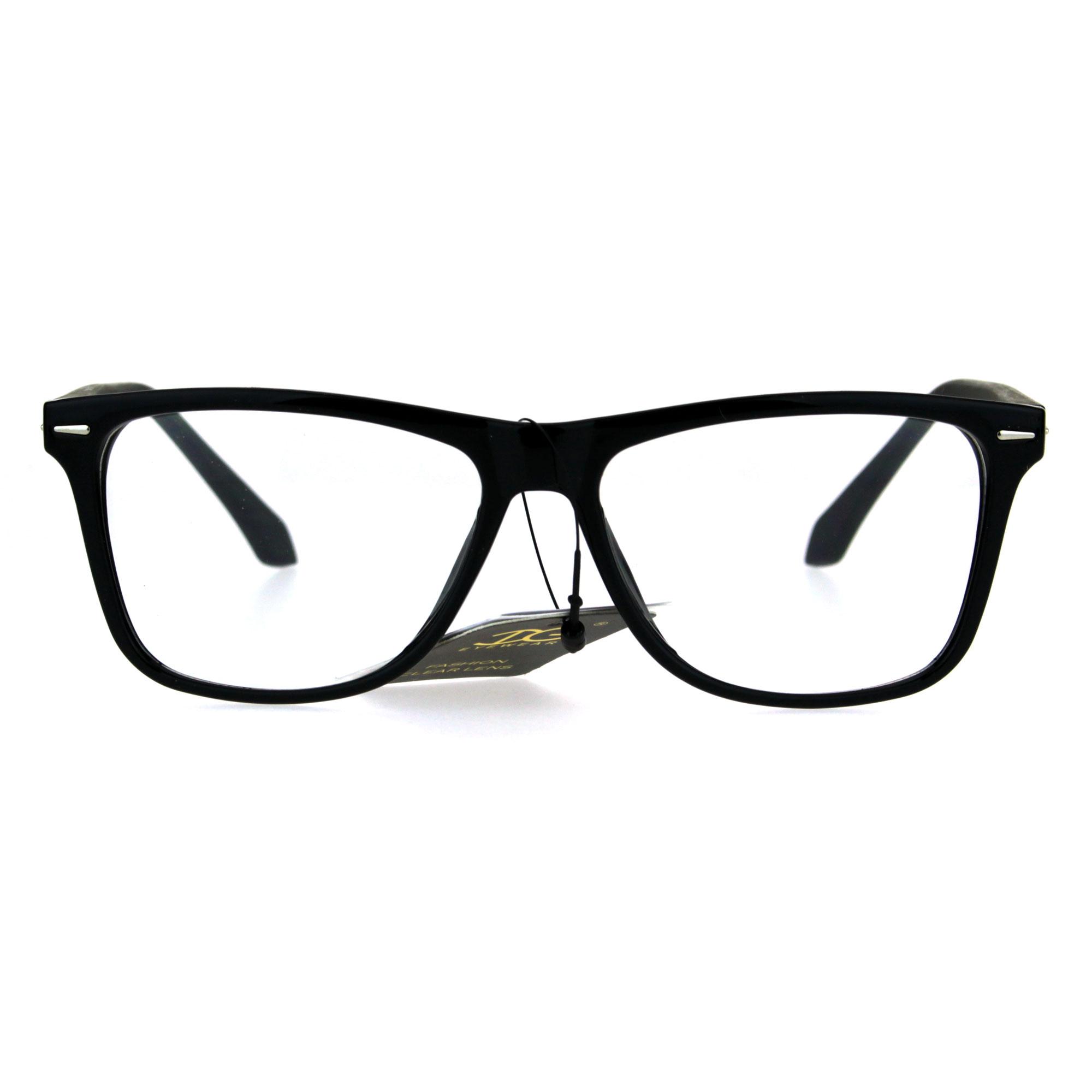 Men s Plastic Frame Glasses : Mens Rectangular Plastic Horn Rim Clear Lens Eye Glasses Frame