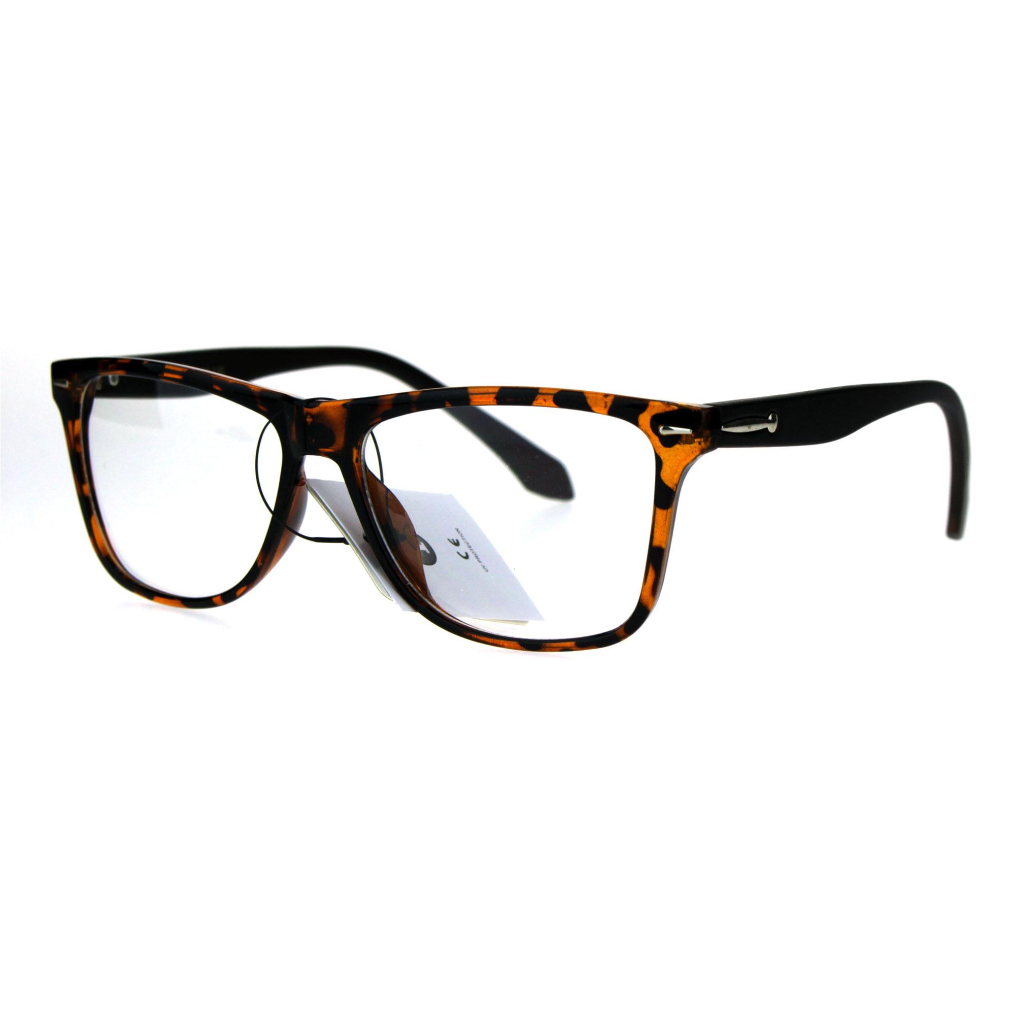Clear Glasses Frame Mens : Mens Rectangular Plastic Horn Rim Clear Lens Eye Glasses ...