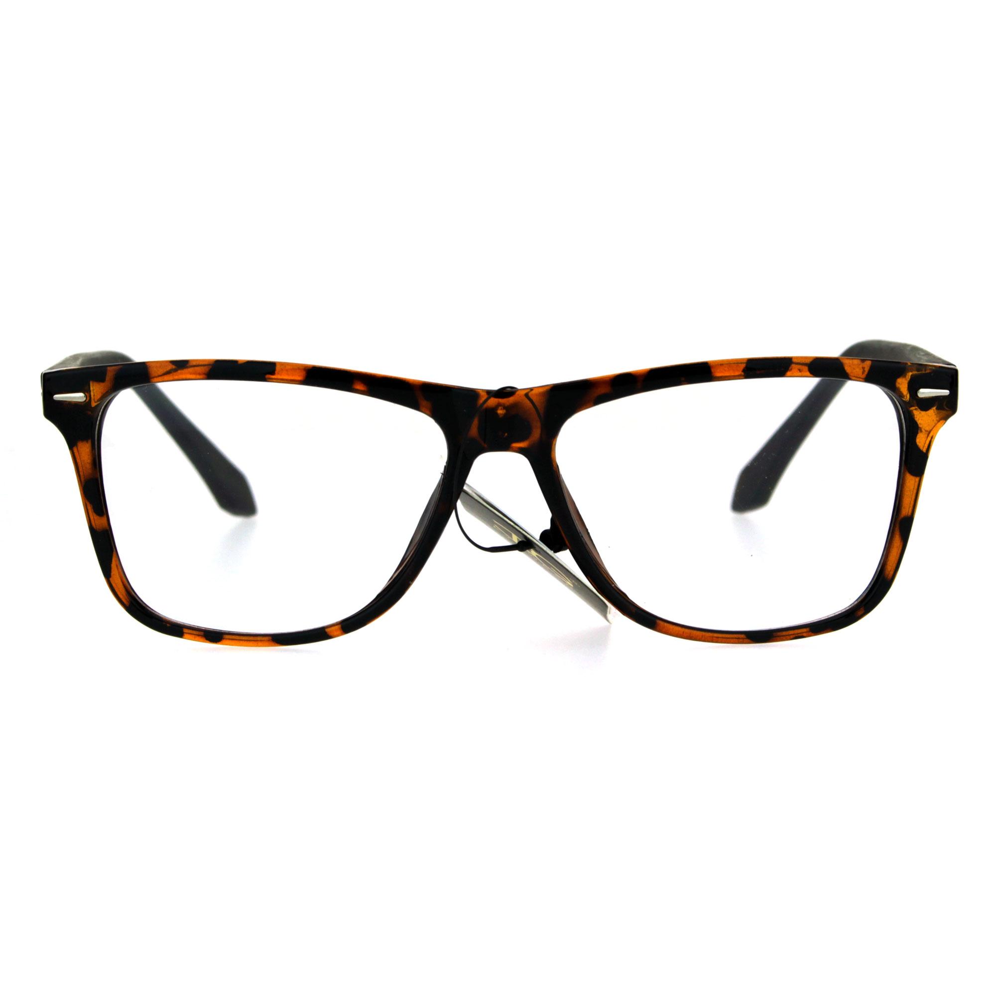 Mens Rectangular Plastic Horn Rim Clear Lens Eye Glasses ...