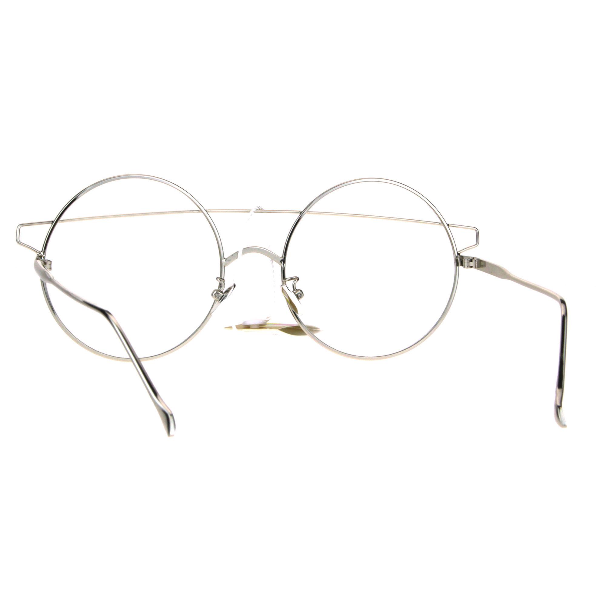 Womens Art Deco Off Set Brow Bridge Round Circle Lens Eye Glasses