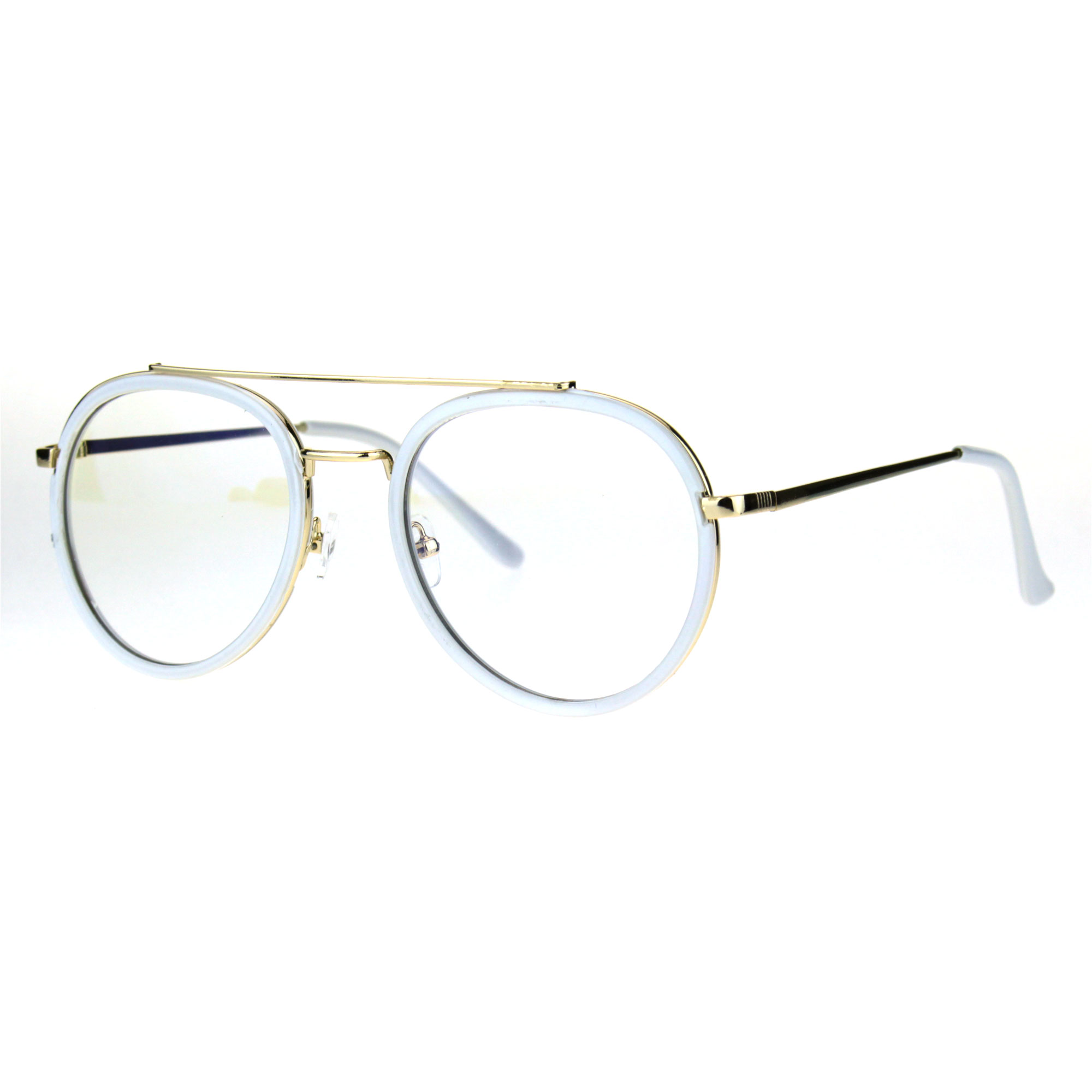 21486a19586 Retro Trend Plastic Metal Double Rim 90s Aviator Clear Lens Eye ...