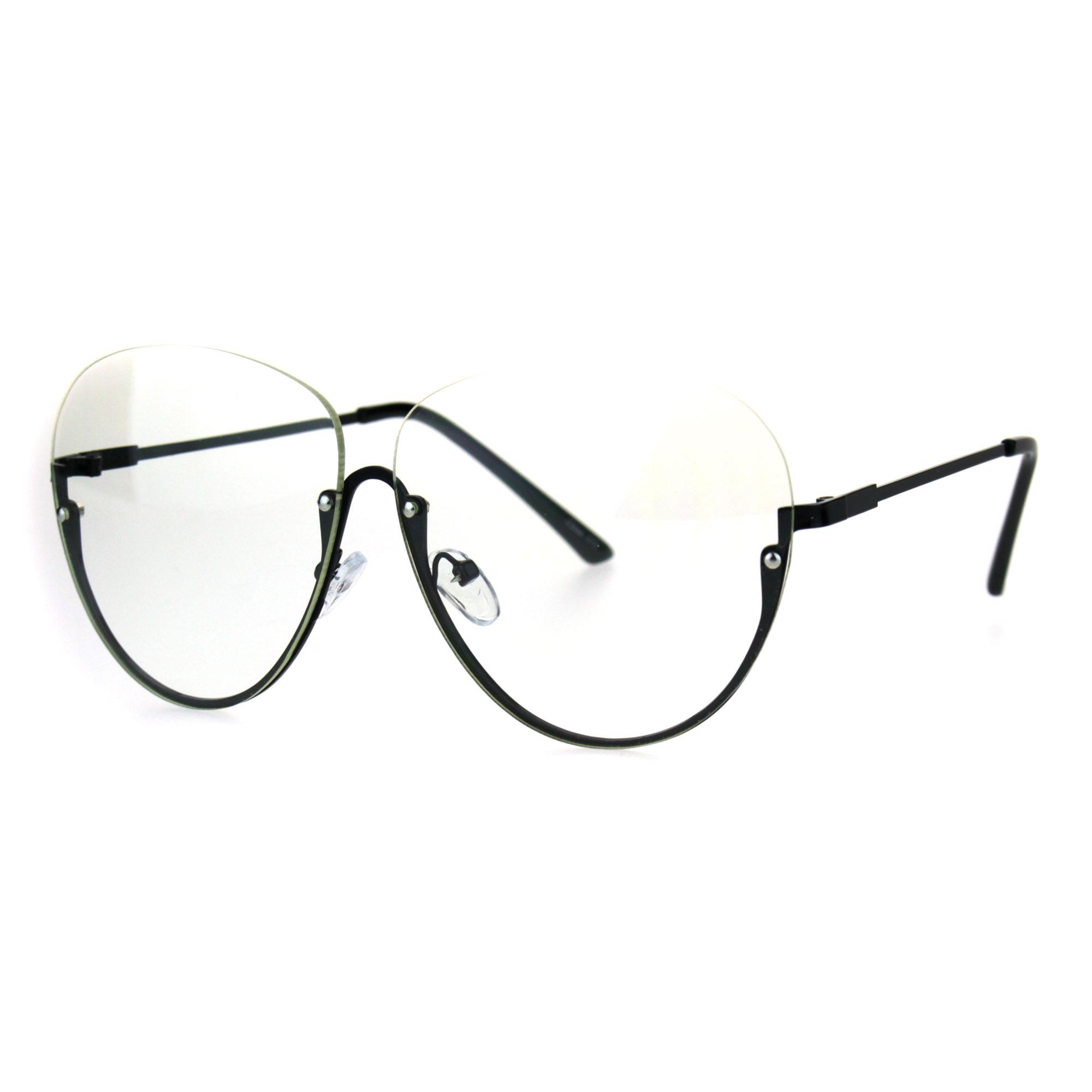 af27d62f51 Womens Upside Down Half Rim Granny Oversize Clear Lens Eye Glasses ...