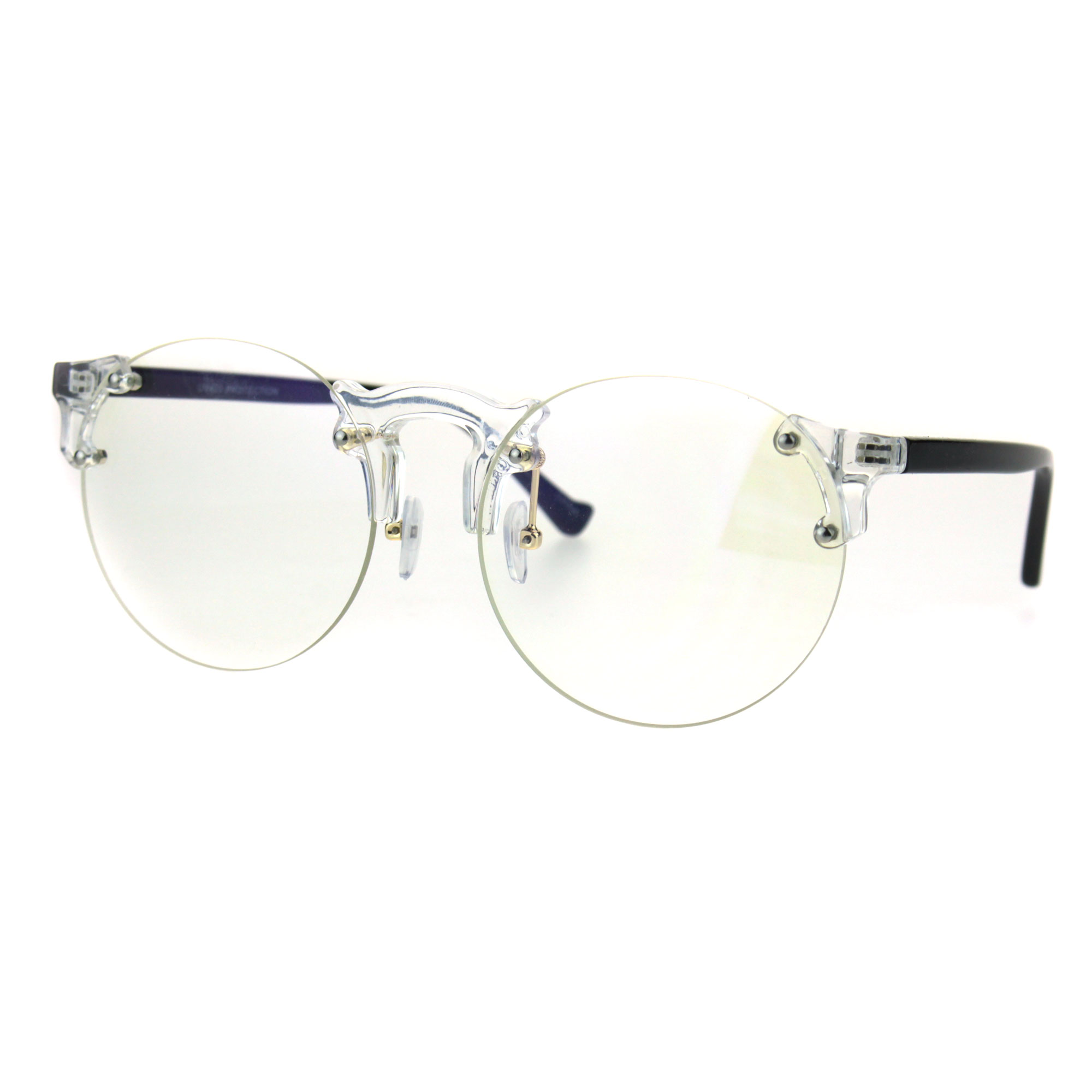 Retro Hipster Clear Lens and Frame Round Plastic Rimless Eye Glasses ...