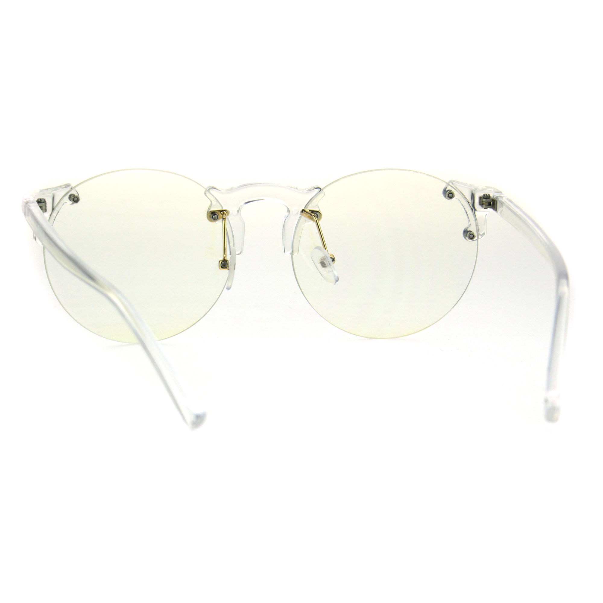 99195b620b Retro Hipster Clear Lens and Frame Round Plastic Rimless Eye Glasses ...