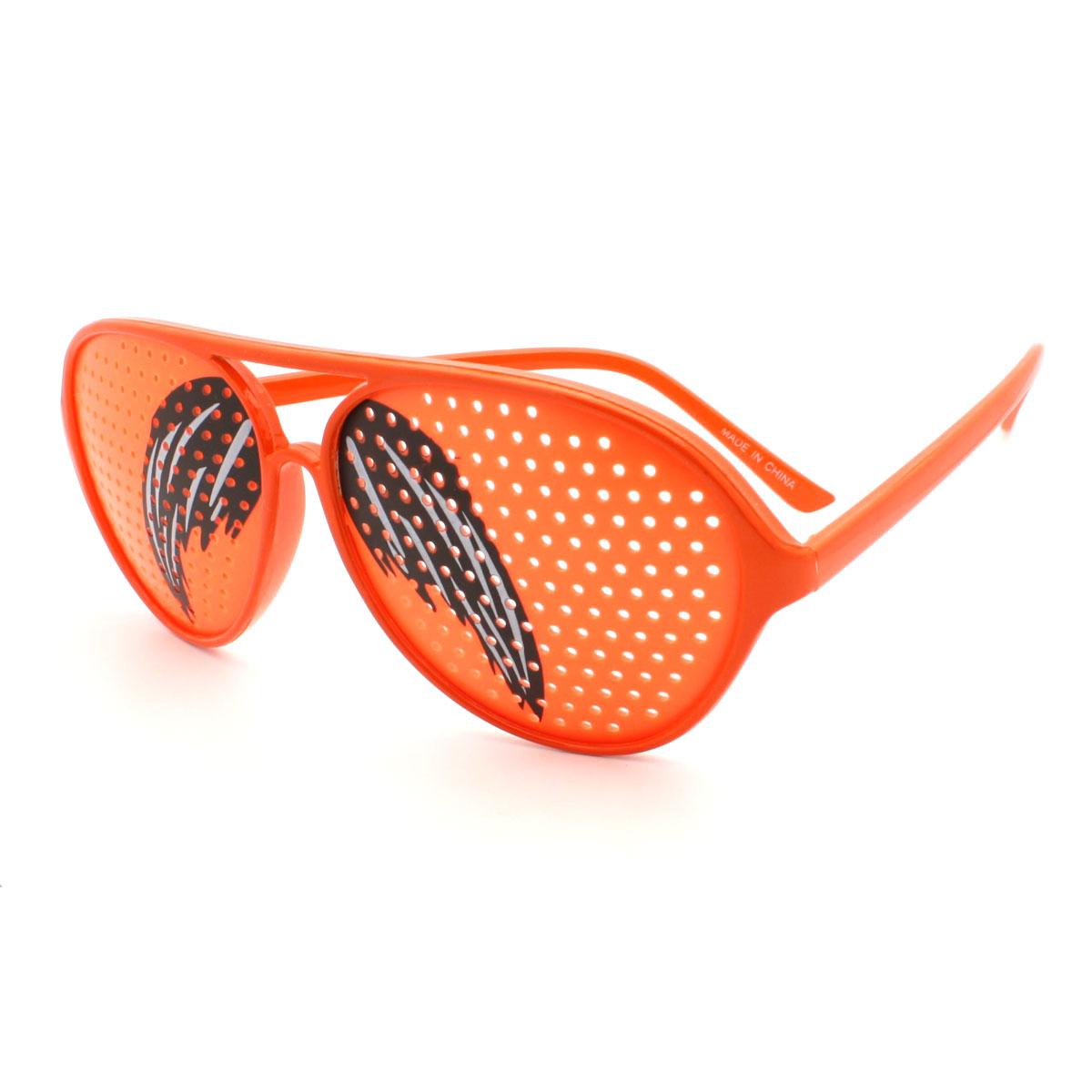 Mustache Print Mesh Lens Racer Plastic Aviator Sunglasses