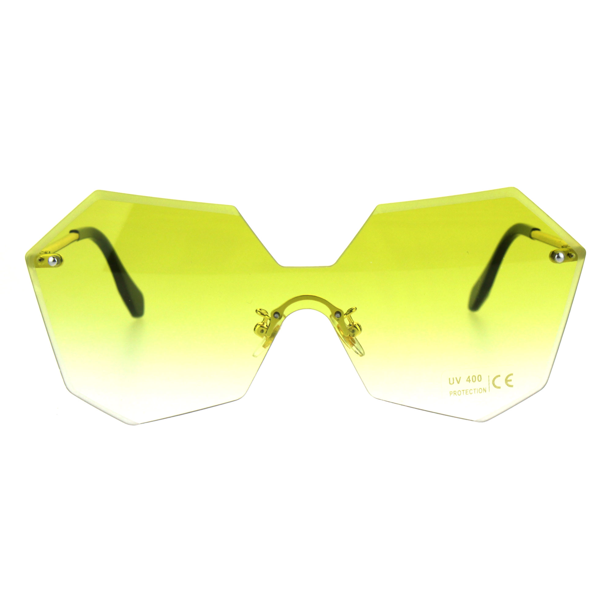 12356bbf73 Womens Rimless Squared OCTAGON Butterfly Color Sunglasses Yellow. About  this product. Picture 1 of 5  Picture 2 of 5 ...